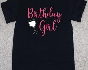Birthday Girl Adult Wine Glass T-Shirt