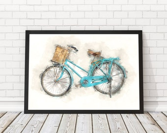 Blue bicycle poster, Bicycle watercolor, Boys Bike wall art, Boy bicycle poster, Blue classical bicycle, Blue Bike poster, PRINTABLE art