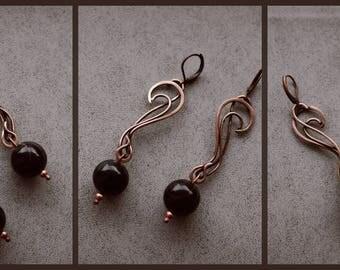 Copper earrings Hanging earrings Earrings agate Black agate Elven earrings Agate gemstone Black earrings Wire wrap Natural stone Agate stone