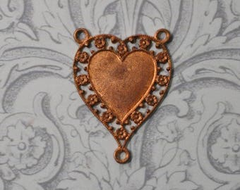Vintage French Filigree Heart Rosary Center 2 to 1 Connector for Enameling 1 Piece 133J