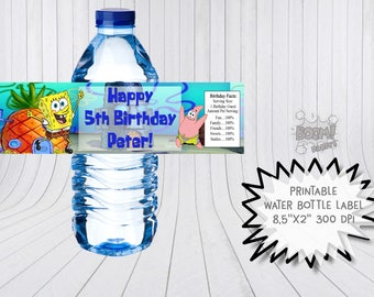 Spongebob water bottle label, Spongebob birthday, Spongebob birthday labels, Spongebob and Patrick, Spongebob party supplies, Printable