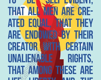 Protest Poster- Lady Liberty Truths- We hold these truths to be self-evident, that all men are created equal