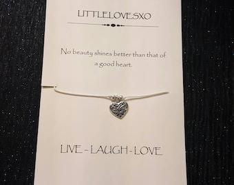 Heart bracelet, heart charm bracelet, Love bracelet, Love heart bracelet, Love gifts, Love heart gifts, Birthday gifts, Gifts for her