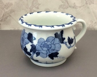 Vase / Planter with Handle - Blue and White Asian Floral Design