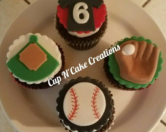 Baseball Cupcake Toppers Handmade by CupNCakeCreations