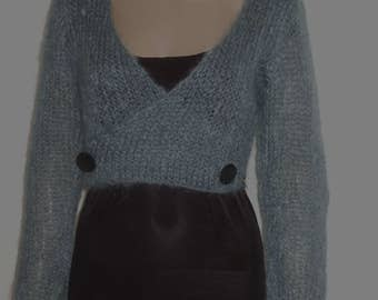 P' little vest type cardigan sweater in beautiful yarn kid mohair soft celadon convertible version 2