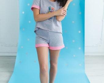 Knit Tee-jama with Coctail Embroidery and shorts/Women's Pajama /Pajama Top/Sleepwear/Loungwear/Nightwear