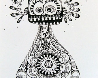 Original, black and white, fine liner drawing, OrnamentMonster Nr 1