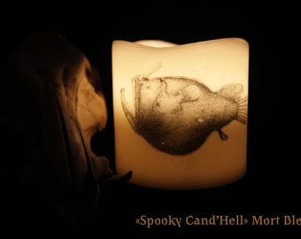 """""""Spooky Cand'Hell"""" fish abyss led candle."""