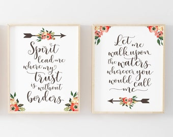 Spirit Lead Me Print-Spirit Lead Me Where My Trust is without Borders-Arrows Print-Flowers-Scripture-Printable Wall Art-Instant Download