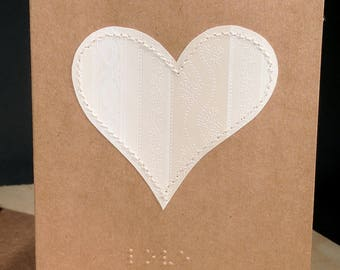 Feel the Love - Braille Love card with stitched heart paper applique accent- A2