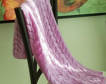 Knit baby blanket ,baby girl gift,  baby blanket, pink baby blanket, Stroller Blanket