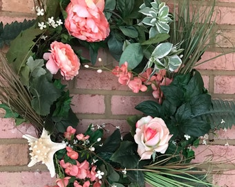 Beautiful Peony and Rose Wreath with a Starfish