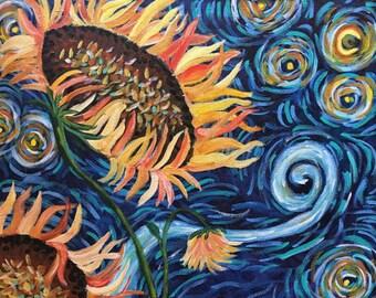 "Acrylic Painting   Original Wall Art   Sunflower   Acrylic Art   16"" x 20"" Gallery Wrapped Canvas Art   Ready to Hang Art"