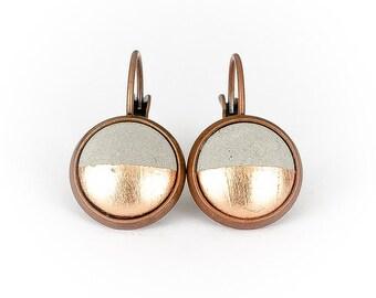Earrings concrete copper