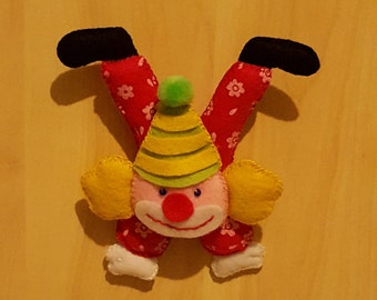 Clown in green felt Hat party favor or gift/keychain