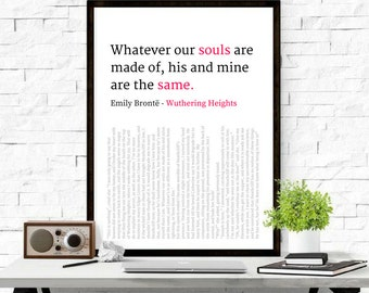 026 Wuthering Heights Love Wall Art Love Quote Book Quote, Soulmate Quote, Literature Art, Emily Bronte Print, Home Decor, Typography Poster