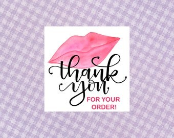 Thank You Stickers - Square Kiss