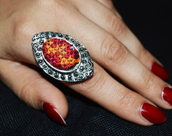 handmade Palestinian embroidery ring