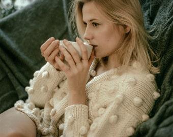 White sweater Handmade sweaters for women Sweater wool Sweater organic wool