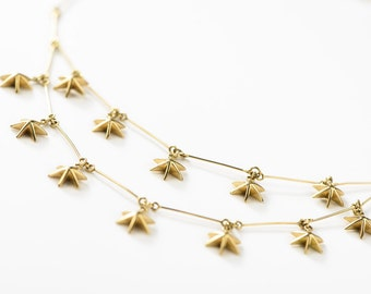 Star Necklace/18K Solid Gold/Fine Jewelry/18K MultiStrand Chain Necklace with Stars