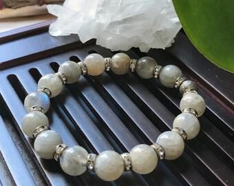 10mm Natural A++ Labradorite Gemstone Yoga Mala Bracelet/ Third Eye Chakra / Yoga Gift / Meditation bracelet/Protection Mala. Boho bracelet.