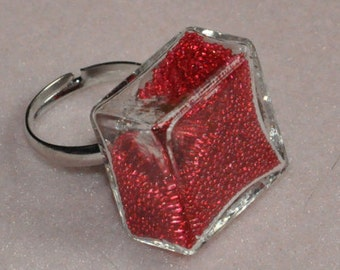 Glass - Microbead and glitter - ring size adjustable