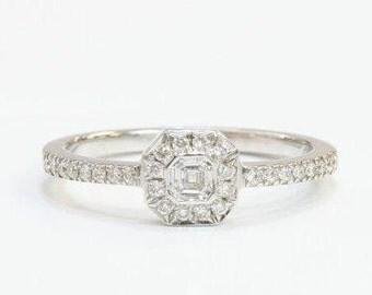 diamond ring, unique diamond ring, halo diamond ring, halo ring, 14k gold ring, solid gold ring, gold diamond ring, emerald cut diamond ring