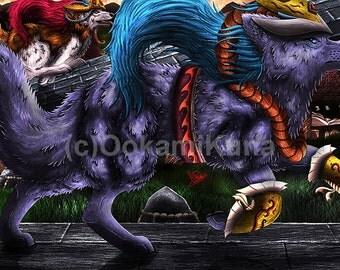 Digital illustration animal Wolf Sakeboshi and Chi art print digital card 13 x 18