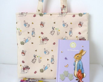 SALE ITEM - Children's  Bag in Peter Rabbit fabric with 10 Twistables and notebook .