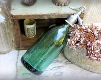 vintage aquamarine seltzer soda siphon antique glass brocante decoration