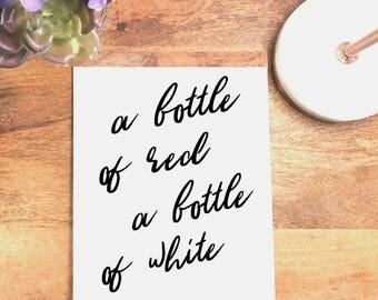 A Bottle of Red A Bottle of White, Billy Joel Wall Art, Billy Joel Quote, Lyrics Art, Bar Art, Wall Decor, Printable