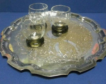 Vintage Stainless Steel and Brass Tray