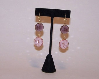 Colors pink and purple Crystal EARRINGS