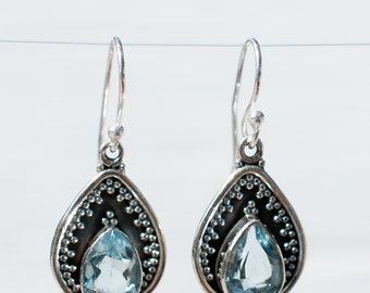 Blue Topaz Earrings ~ Dangle ~ Gemstone ~ Sterling Silver 925 ~ Handmade ~ Natural ~ Lightweight ~ November Birthstone ~ Jewelry ~Boho ME014