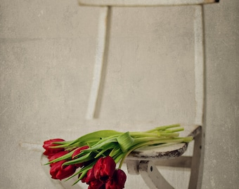 Tulips on a Chair, red tulips, floral, wall art, still life, flower photography, fine art photography, floral photography, flower print
