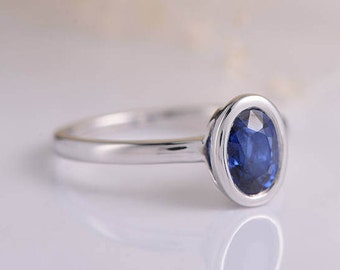 Bezel Set Sapphire Ring Antique Oval Cut Sapphire Engagement Ring White Gold Simple Minimalist Anniversary Promise Solitaire Birthstone Ring
