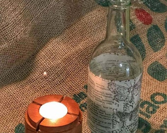 wine bottle, candle holder, tea light candle holder, rustic country, rustic decor, country style, tea light, table decor, farmhouse decor,