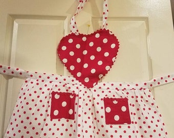 Red polka dot valentines apron, childrens apron, kids apron, Heart apron