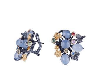 Chalcedony earrings designer earring gypsy earrings cluster earrings bohemian earrings vintage earrings large hoop earrings big earring