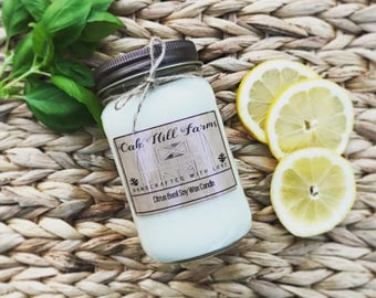 CITRUS BASIL, soy wax candle, fresh fragrance, hand poured, all natural, eco friendly, mason jar candle, lemon, basil