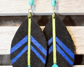 Hand painted leather aztec chevron dangle earrings