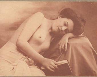 Natural Beauty Indulges in Book | Edwardian French Nude | Reading Portrait | Postcard 1910's | Matte Paper | Soft Russets | Risque |
