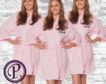 Set of 8 Pink Waffle Kimono Bridesmaid Robe, Monogrammed Robe, Embroidered Robe, Wedding Day Robe, Bridesmaid Gifts, Spa Robes