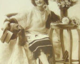 SALE Vintage Pretty Lady French Postcard