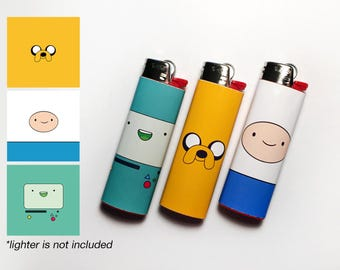 ADVENTURE TIME! 3 Waterproof Vinyl Lighter Stickers For Standard BIC Lighter Size With Minimalist Jake Finn Beemo Art