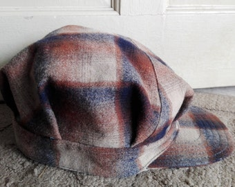 Pendleton 100% wool brown plaid cap/used