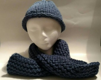 Blue Child Knit Hat and Scarf Set - Blue Child Knit Beanie and Scarf Set