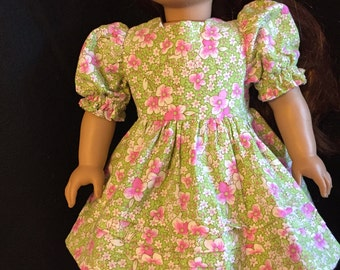 American girl doll summery green with pink flowers  dress