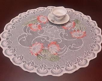 CLEARANCE SALE Vintage stitched Doily, Victorian table centerpiece tablecloth, floral doily, vintage linens, vintage textiles, pretty doily